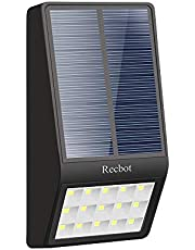 Recbot Luz Solar Jardín 15 LED 2000 mAh Lámparas Solares Exterior con Sensor de Movimiento y Sensor fotosensible Luces LED de Seguridad al Aire Libre para Terraza Garaje Escaleras