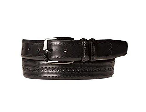 Mezlan Mens Artisan-Detailed Italian Calfskin, BLACK, 38 (Mezlan Black Belt)
