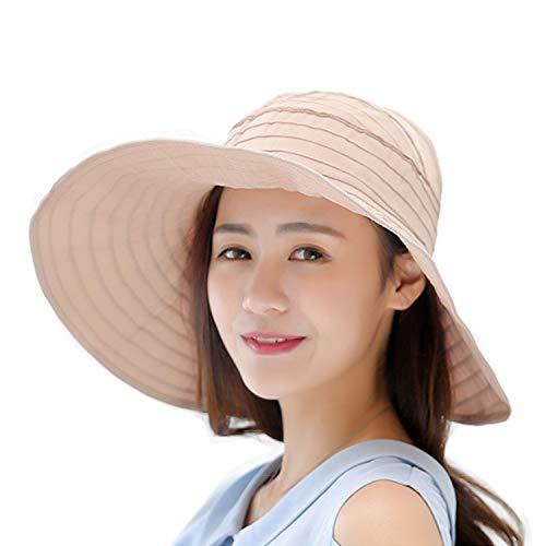 Summer Wide Brim Foldable Packable Sun Blocking Hat Floppy Beach Sand Pool UPF 50+ Visor Cap Women Ladies Kids Girls (Beach1-W-Khaki, Adjustable)