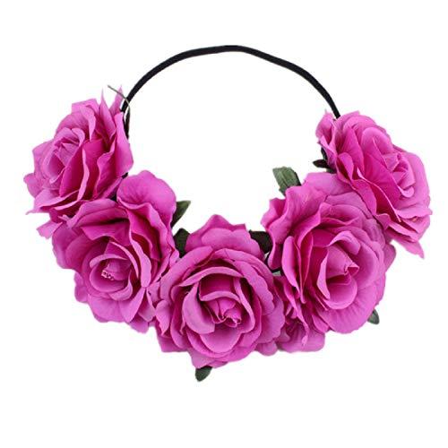 (DreamLily Women's Hawaiian Stretch Flower Headband for Garland Party BC12(Pink) )