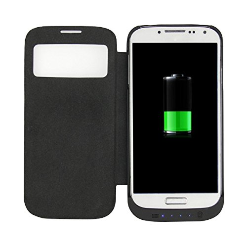 3200mAh Portable External Backup Battery Charger Power Bank Case + Leather Flip Cover with Kickstand for Samsung Galaxy S4 i9500