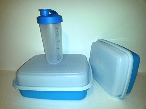 3 Piece Shake and Marinate Bundle By Tupperware Shy Blue