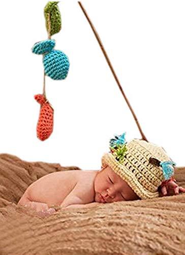 Pinbo Baby Fishing Photo Prop Set Fisherman Handmade Crochet Hat & Fish Lot