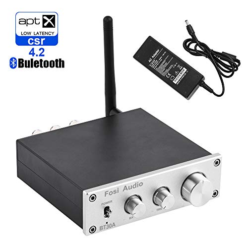 (Bluetooth 4.2 Stereo Audio Amplifier 2.1 Channel Receiver Class D Mini Hi-Fi Integrated Digital Amp with Bass Treble Control 50Watt x 2 + 100Watt x 1 for Home Passive Speakers)