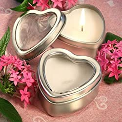 Light for Love Collection Heart Candle Favor Tins, 50