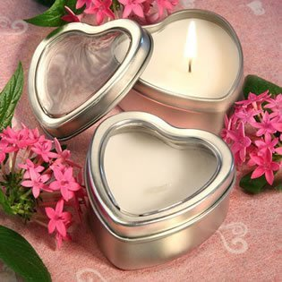 Light for Love Collection Heart Candle Favor Tins, 50 -
