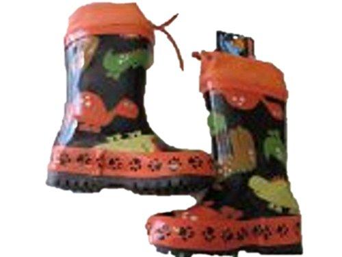 MaxiMo Kindergummistiefel, Babygummistiefel, mit verkürztem Schaft, Naturgummi, orange/schwarz mit Allover Dino Motiv, jeder Stiefel ein Unikat, Gr. 21