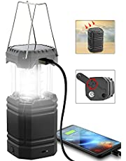 Solar Camping Lantern- Hand Crank Rechargeable LED Lantern Flashlight with USB Charger, 3000mAh Power Bank, Super Bight Camp Light, Long Play Time,Collapsible Waterproof Camping Lights for Emergency, Survival, Hiking, Hurricane,Fishing,Storm,Home