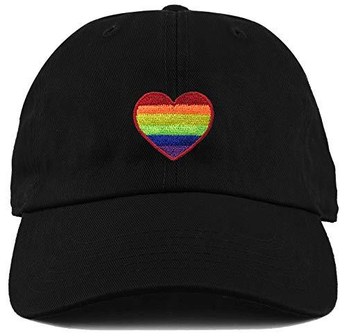 (H-214-RH06 Dad Hat Unconstructed LGBTQ Gay Pride Baseball Cap - Rainbow Heart)