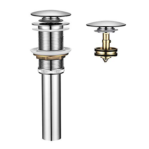 ROVOGO Brass Push and Seal Pop up Sink Drain with Detachable Basket Stopper, Bathroom Faucet Vessel Vanity Umbrella Drain without Overflow, Chrome