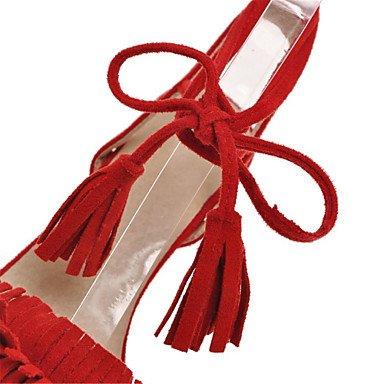 LvYuan Mujer-Tacón Stiletto-Zapatos del club Confort Innovador-Sandalias-Oficina y Trabajo Fiesta y Noche Vestido-Vellón-Negro Rosa Rojo Beige gray