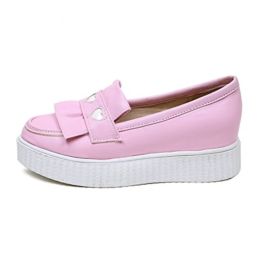 VogueZone009 Women's Low-Heels Closed-Toe Assorted Color Pumps-Shoes Pink 8o775TSKbV