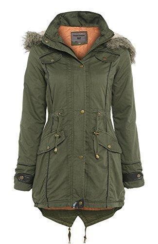 10 12 Khaki Oversized 10 Coat Fishtail SS7 Khaki Sizes UK Hood Parka xRaTqw160
