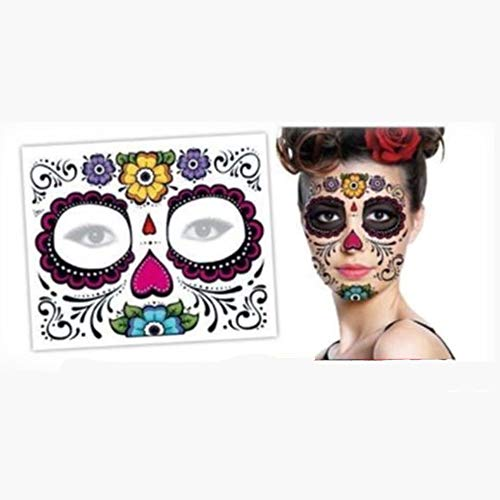 EORTA 6 Pieces Halloween Face Tattoo Kit Temporary Tattoos Stickers Waterproof Makeup Props Removeable Scary Face Decoration for Women Girls Ladies, Multicolor]()