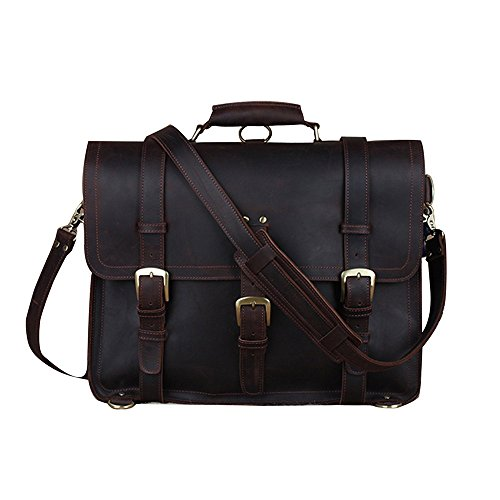 BAIGIO Vintage Leather Luggage Backpack Briefcase Travel Carryon Shoulder Bag (Dark Brown) by BAIGIO