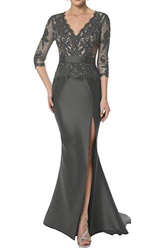 cd707cfeba2a La Marie Braut Damen Etuikleider Spitze Brautmutter Kleider Abendkleider  Abschlussballkleider mit Langarm Grau GcSsOQXvQc