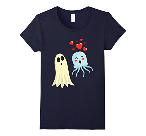 Womens Jellyfish Falls in Love with Ghost Funny Halloween T-shirt Medium (Jellyfish Halloween Costume Ideas)