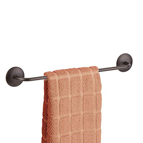 mDesign Decorative Metal Large Towel Bar - Strong Self Adhesive - Storage and Display Rack for Hand, Dish, and Tea Towels - Stick to Wall, Cabinet, Door, Mirror in Kitchen, Bathroom - Bronze (Drilling Holes In Wood For Tea Lights)