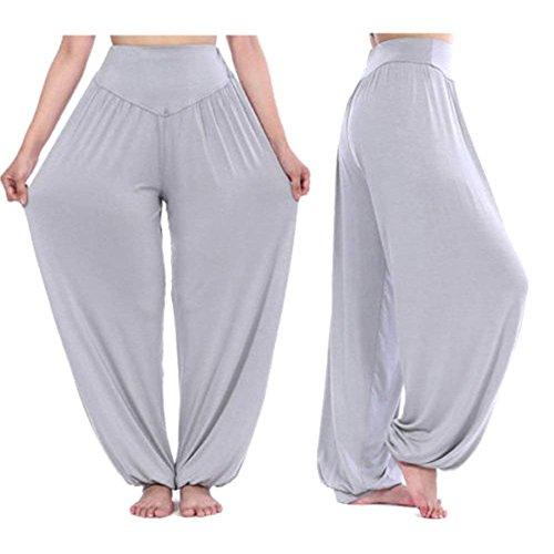 Ragazza Grazioso Pantaloni Grigio Yoga Estivi Elastica Nahen Taille Eleganti Donna Baggy Lunga Multistrato Harem Basic Chiaro Moda Di Tempo Sportivi Primaverile Libero Trousers 11rSR