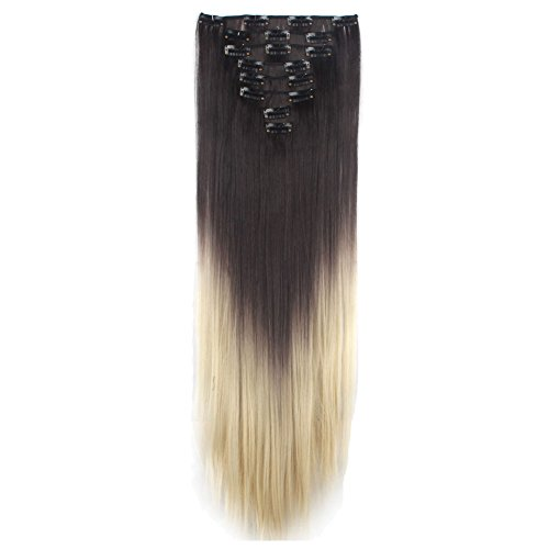LHFLIVE Womens 18 Clips 8pcs Full Head Hair Extensions 26 Inch Long Straight Dark Brown to Bleach Blonde Hairpiece (Dying Hair Dark Brown To Light Brown)