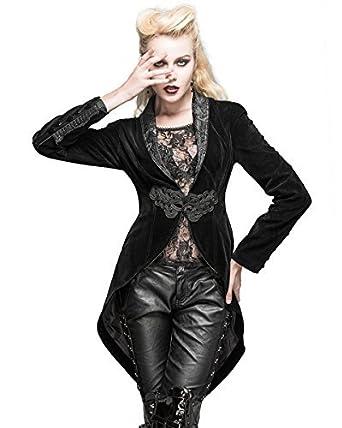 Devil Fashion Femmes Queue de Pie Veste Velours Noir Gothique Steampunk  Aristocrat Vintage - Noir c4aa1fb8ad7