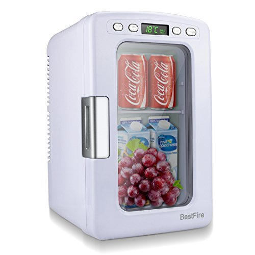 BestFire Car Mini Fridge Portable Thermoelectric Cooler and Warmer Travel Refrigerator for Home ,Office, Car or Boat AC & DC, White - 12L Capacity (Cooler Drink Soft)
