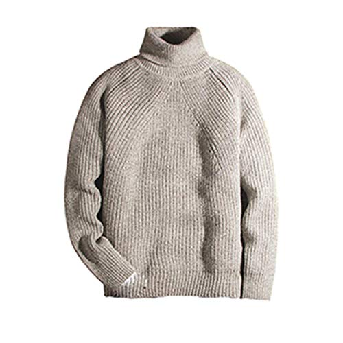 Winter Thick Turtleneck Mens Pullover Sweaters Casual Crocheted Striped Knitted Sweater Gray M