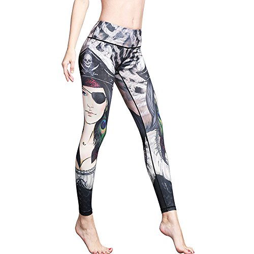 ed Yoga Pant Workout Leggings Thin Capris HK59 Pirate Girl Tag M-US S (Pirate Leggings)
