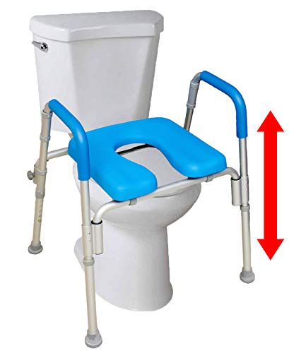 The UltimateTM Raised Toilet Seat, Voted#1 Most Comfortable. Padded with Armrests. Adjustable Height. Premium Elevated Toilet Seat with Arms for Standard and Elongated Toilets.