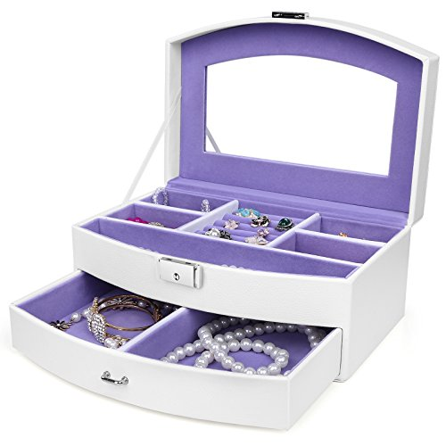 SONGMICS Girls Jewelry Box 2 Layer Organizer Portable Mirrored Jewelry Case 1 Drawer Faux Leather White UJBC139