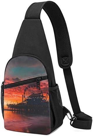 ボディ肩掛け 斜め掛け 夕方の遊園地 ショルダーバッグ ワンショルダーバッグ メンズ 軽量 大容量 多機能レジャーバックパック
