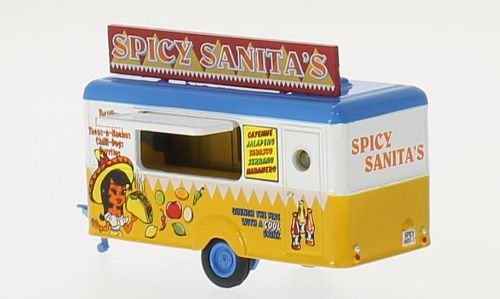 013 Mobile Mobile Mexican Food Trailer Spicy Sanitas 1:87 Scale Diecast Model in Display Case ()
