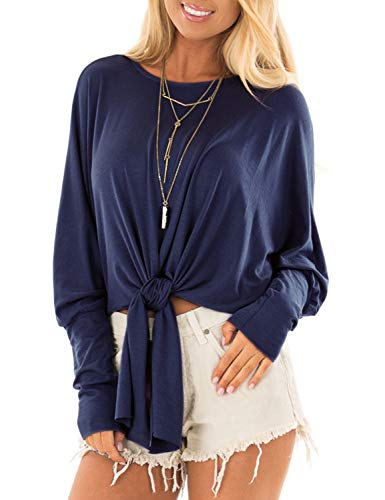 Blooming Jelly Women's Round Neck Batwing Dolman Sleeve Tie Front Knot Shirt Crop ()