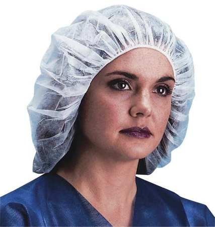 Bouffant Cap, 24in, White, PP, PK1000