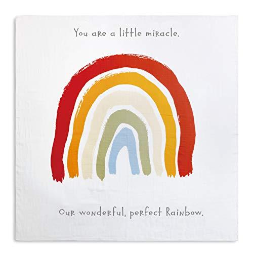 DEMDACO Little Miracle Perfect Rainbow 47 x 47 Children's Photo Swaddle Blanket