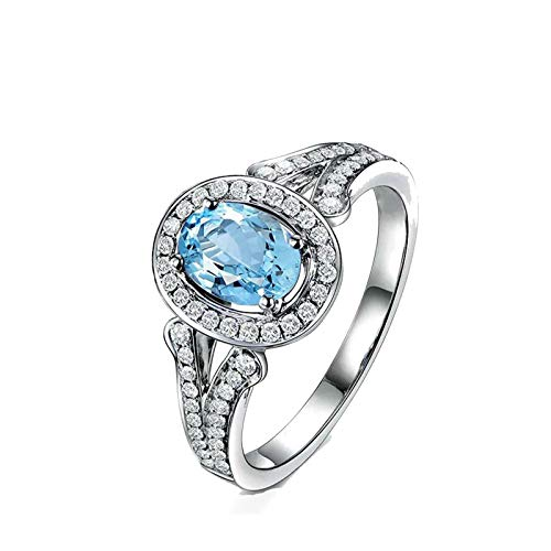 Beydodo 925 Sterling Silver Ring for Women Halo Ring Oval Cut Blue Topaz Ring Size 6 Rings Engagement Diamond