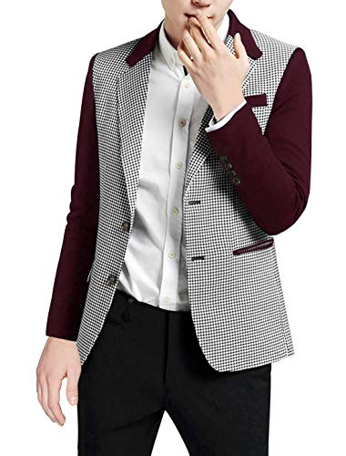 (uxcell Men Notched Lapel Houndstooth Pattern Split Side Casual Jacket Medium Burgundy)