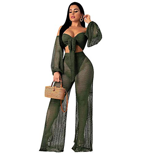 - Womens Sexy 2 Piece Outfits Summer See Through Hollow Out Crop Top and Loose Leg Long Pants Set Green