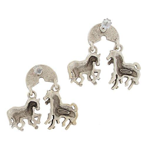 (Pierced Matte Silver Pewter Tone Horse Zebra 1 1/2