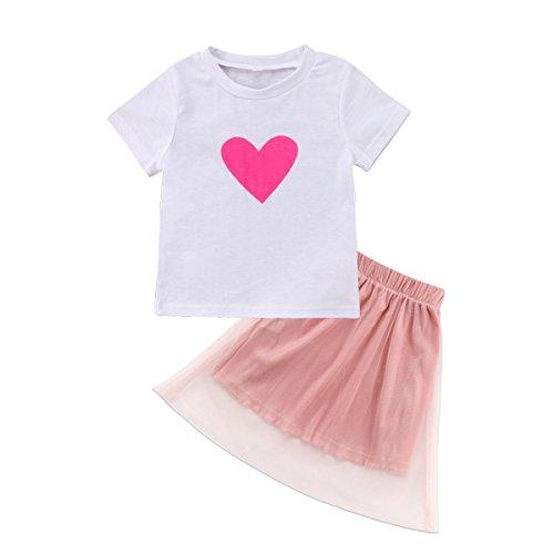 Family Matching Clothing Mom Girls White Tshirt Top Pink Tutu Skirt Sets (Girls (Mother Daughter Tutu Costumes)