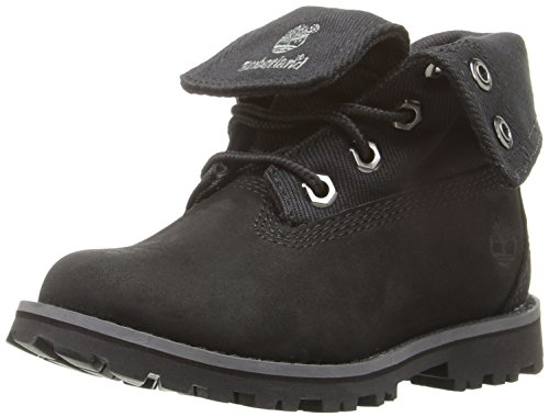 Timberland Authentics Fabric Fold Down Hiking Boot (Toddler/Little Kid/Big Kid), Black Nubuck/Fabric, 1 M US Little (Toddler Black Nubuck Footwear)