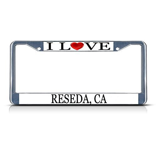 License Plate Frame I Love Heart Reseda Ca Aluminum Metal License Plate Frame Elvira Jasper