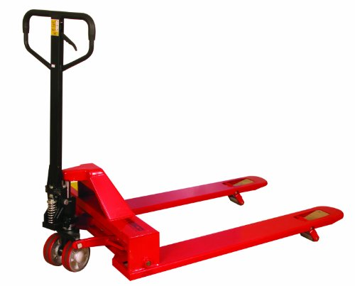 Wesco 273400 4-Way Pallet Truck with Handle, Polyurethane Wheels, 4,000 lb. Load Capacity, 47