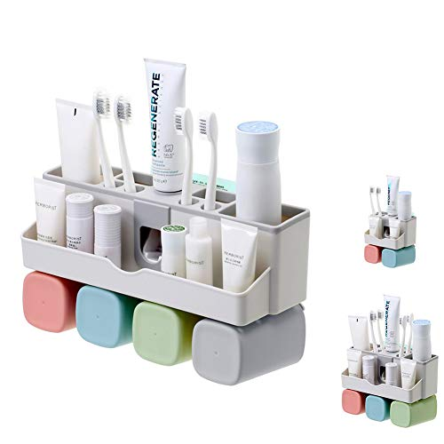 Boyan Toothbrush Holder Set, Save Space No Drill Wall Mount Toothpaste Dispenser and Multi-Functional Slots Bathroom Organizer with Water Drainer (Large) by Boyan