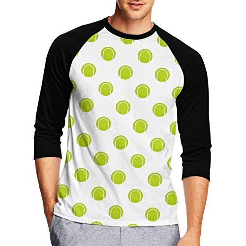Men's Baseball Tee - Ball for Playing Tennis Pattern 3/4 Sleeve Jersey Shirt Black (Raglan Tennis Shirt)