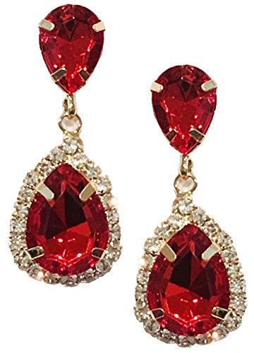Gold Tone Antique Vintage Retro Deco Gatsby Flapper Style Scarlet Ruby Red Zircon Rhinestone Pear Bridal Wedding Earrings -