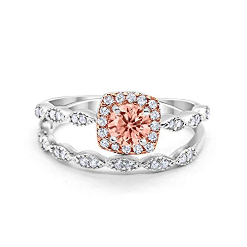 Blue Apple Co. Art Deco Bridal Set Ring Band Halo Simulated Morganite Two Tone 925 Sterling Silver, Size-5