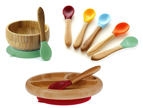 Avanchy Mix & Match Organic Bamboo Baby Gift Set. Bamboo Baby Bowl + Bamboo Baby Divided Plate + 5 Assorted Spoons set. Great for Baby Boy, Baby Girl, Unisex (Green Bowl / Magenta Plate)