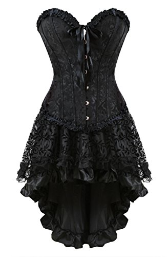 Grebrafan Embroidered Overbust Boned Corsets with Fluffy Pleated Layered Tutu Skirt (US(18-20) 5XL, Black)