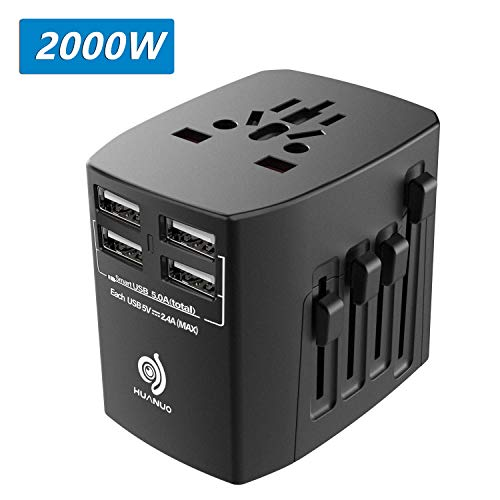 Well Adapter - Travel Adapter - 2000W International Power Adapter with High Speed 2.4A 4xUSB European Adapter- Dual Fuse Universal Power Adapter for EU, US, UK, AU Covers Over 150 Countries